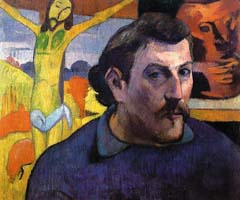 Paul Gauguin, self portrait with yellow christ